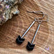 Hematite Arrow Silver Tube Earrings